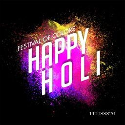 Shiny White Text Happy Holi on abstract colorful splash for Indian Colors Festival celebration.
