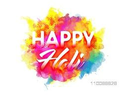 White Text Happy Holi on abstract colorful splash background. Creative poster, banner design for Indian Colors Festival celebration.