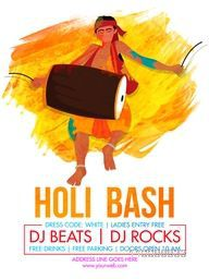 Holi Bash Party celebration Template, Banner or Flyer design with illustration of a man playing drum on abstract brush stroke background.