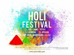 Indian Festival, Holi Party celebration poster, banner design with abstract colorful splash.