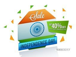 Indian Independence Day Sale, Tricolor Sale Paper Tag, Sale Paper Banner, Sale Poster, Sale Flyer, Sale Ribbon, 40% Off on Every Products, Stylish Sale Background for 15th of August celebration.