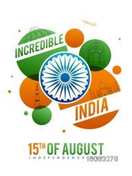 Incredible India, Creative line art illustration of famous Indian Monuments with Ashoka Wheel, Tricolor abstract background for 15th of August, Independence Day celebration.