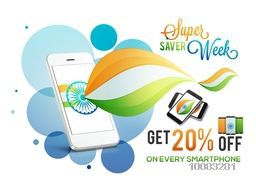Indian Independence Day concept, Sale Poster, Sale Banner, Sale Flyer, Super Saver Week, 20% Off on Smartphone, Creative abstract Sale Background.