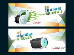 Great Indian Freedom Sale, Creative Sale website header or banner set with illustration of glossy headphone and wrist watch on abstract tricolor background for Independence Day concept.
