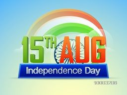 3D Text 15th Aug, Independence Day on National Tricolor Stripes and Ashoka Wheel decorated background, Beautiful Poster, Banner or Flyer design.