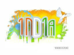 Stylish Text India in Tricolors, Creative abstract background with white illustration of famous monuments, ashoka wheel and flying pigeon, Concept for Indian Independence Day and Republic Day celebration.
