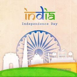White hanging famous monuments made by paper on Ashoka Wheel decorated background for Indian Independence Day celebration.
