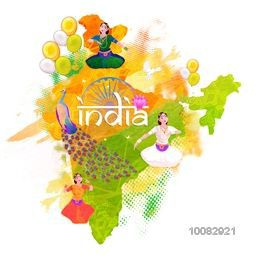 Republic of India Map showing Indian Culture and National Symbols, Creative illustration in Tricolor, Concept for Independence Day and Republic Day celebration.