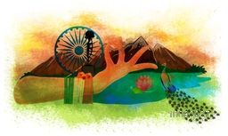 Creative illustration of women hand in traditional Indian Dance Pose, National Bird Peacock, National Flower Lotus, Ashoka Wheel for Indian Independence Day celebration.