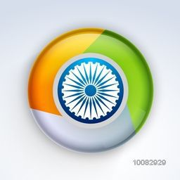 Glossy 3D Indian Flag Button with Ashoka Wheel for Happy Independence Day and Republic Day celebration concept.