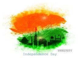 Creative illustration of Indian Famous Monuments on saffron and green abstract background for Happy Independence Day celebration.