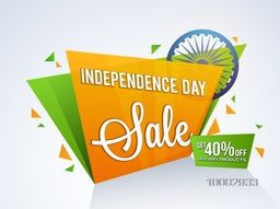 Indian Independence Day Sale, Tricolor Sale Paper Tag, Sale Paper Banner, Sale Poster, Sale Flyer, 40% Off on every products, Stylish Sale Background with Ashoka Wheel for 15th of August celebration.