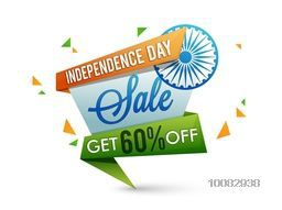 Indian Independence Day Sale, Tricolor Sale Paper Tag, Sale Paper Banner, Sale Poster, Sale Flyer, Sale Ribbon, 60% Off, Stylish Sale Background with Ashoka Wheel for 15th of August celebration.
