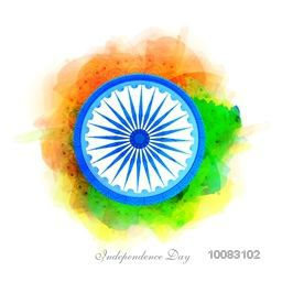 Creative Ashoka Wheel on abstract floral background, Elegant Greeting Card design for Happy Indian Independence Day celebration.