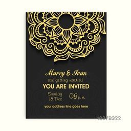 Glossy floral design decorated beautiful Wedding Invitation Card.