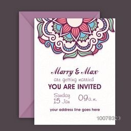 Floral decorated beautiful Wedding Invitation Card design with envelope.