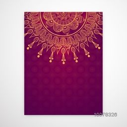Floral design decorated glossy pink Invitation Card with space for your wishes.
