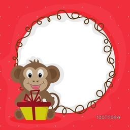 Cute happy Monkey holding gift with blank frame for Chinese New Year celebration.