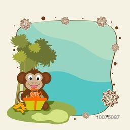 Cute Monkey with gift box and bananas on nature background for Chinese New Year celebration.
