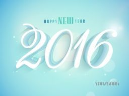 3D text 2016 on shiny sky blue background for Happy New Year celebration.