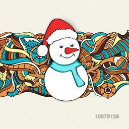 Colorful floral design decorated greeting card with cute Snowman in Santa hat for Merry Christmas celebration.