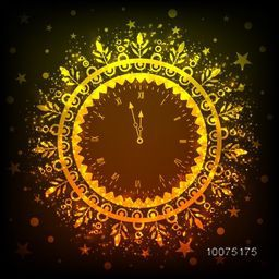 Creative sparkling golden clock showing almost Twelve 'O' Clock for Happy New Year celebration.