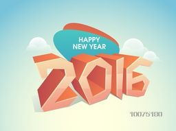 3D glossy text 2016 on cloudy sky background for Happy New Year celebration.