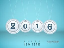 Stylish hanging text 2016 on glossy sky blue background for Happy New Year celebration.