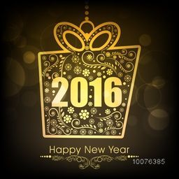 Beautiful greeting card with golden text 2016 on floral decorated hanging gift box for Happy New Year celebration.