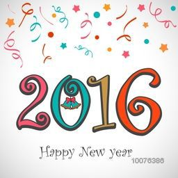 Colorful text 2016 with Jingle Bell on stars decorated background for Happy New Year celebration.