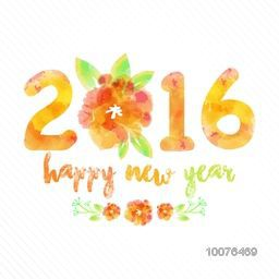 Beautiful greeting card design with stylish text 2016 and flower for Happy New Year celebration.