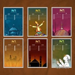 Creative Yearly 2016 Calendar design with various Islamic ornaments for Happy New Year celebration.