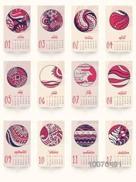 Stylish Yearly 2016 Calendar with traditional floral design for Happy New Year celebration.