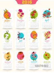 Yearly 2016 Calendar design with colorful flowers for Happy New Year celebration.
