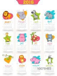 Stylish 2016 Yearly Calendar design with wild animals for Happy New Year celebration.