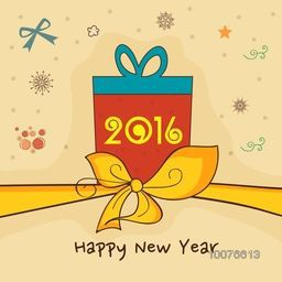 Elegant greeting card design with wrapped gift and yellow ribbon for Happy New Year 2016 celebration.