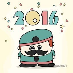 Creative illustration of a funny man on stars decorated background for Happy New Year 2016 celebration.