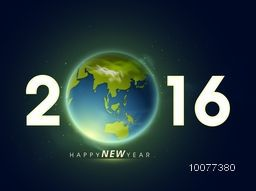 Stylish text 2016 with earth on glossy night space background for Happy New Year celebration.
