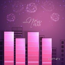 Elegant greeting card design with view of a urban city for Happy New Year celebration.