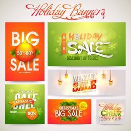 Creative shiny banner set of Big Sale with discount offer for Holiday celebrations.