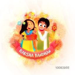 Happy Brother and Sister after celebrating Raksha Bandhan Festival on beautiful abstract background. Elegant Greeting Card design with glossy ribbon.