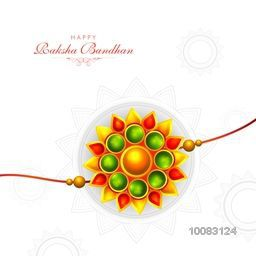 Creative Colourful Rakhi on floral design decorated background, Elegant Greeting Card design for Indian Festival, Happy Raksha Bandhan celebration.