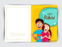 Elegant Greeting Card design with illustration of cute brother and sister celebrating and enjoying on occasion of Raksha Bandhan (Happy Rakhi) celebration.