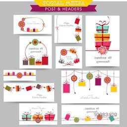 Creative Social Media Post and Header set decorated with colourful gifts, rakhi and different typographic collection for Happy Raksha Bandhan celebration.