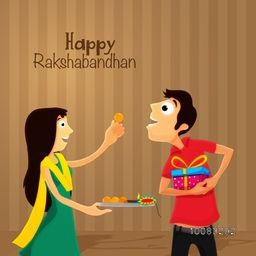 Happy Sister offering sweet to his brother on occasion of Raksha Bandhan celebration. Elegant Greeting Card design for Indian Festival celebration.
