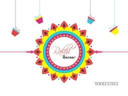 Creative colourful Rakhi on hanging gifts decorated background, Elegant Poster, Banner or Flyer design for Indian Festival of Brothers and Sisters, Happy Raksha Bandhan celebration.