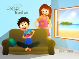 Cute little kids celebrating and enjoying on occasion of Raksha Bandhan. Creative illustration for Indian Festival of Brothers and Sisters celebration.