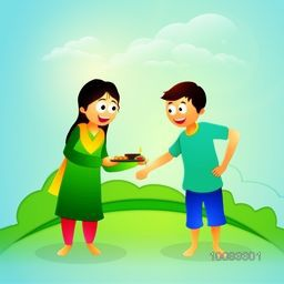 Cute Happy Brother and Sister, Ready to celebrating Raksha Bandhan Festival on cloudy nature background.