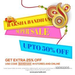 Raksha Bandhan Super Sale, Sale Paper Banner, Sale Poster, Sale Flyer, Sale Ribbon, Upto 50% Off, Online Sale, Creative Sale Background with beautiful decorative Rakhi design.