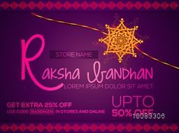 Creative Sale Banner, Sale Poster, Sale Flyer, Upto 50% Off, Online Sale, Sale Background with beautiful decorative Rakhi design on occasion of Raksha Bandhan Festival.